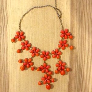 Jewelry - Orange, floral, beaded necklace